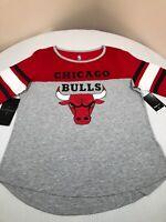Chicago Bulls Shirt Womens XL Icer Brands NBA UNK Baseball Tee Shirt