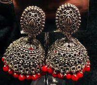 R30 Bollywood Indian Designer Jhumka Jhumkis Earrings Silver Metal Red Beads