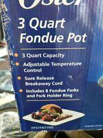Oster 3-Quart Electric Fondue Pot, Non-stick Stainless Steel, FPSTFN7700-022 NIB
