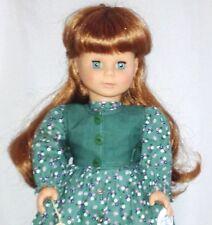 "Engel-Puppe German 20"" Collector Auburn Blue Eyes Doll Wearing Green Clothes"