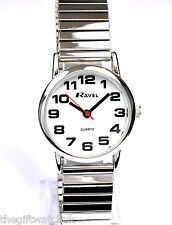 Ravel Ladies New BIG NUMBER Silver Tone Expander Watch, UK Free First Class Post