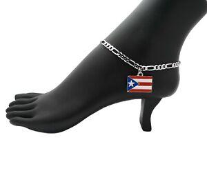 """WOMEN'S SILVER PT PUERTO RICO FLAG CHARM 5mm 10"""" FIGARO CHAIN ANKLET BRACELET"""