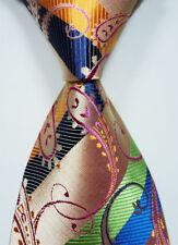 Green Blue Pink OrangrNew Classic Paisley Jacquard Woven Silk Men's Tie Necktie