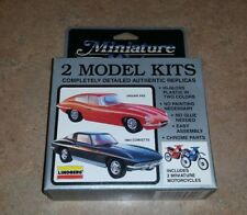 Lindberg Miniature Mint 2 Car Model Kit Jaguar XKE & 1964 Corvette