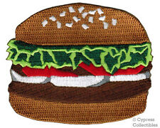 BURGER PATCH embroidered HAMBURGER BUN FOOD iron-on NEW FAST FOOD APPLIQUE