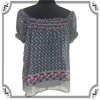 Poppy Garden floral pattern sheer lightweight off-the-shoulder blouse top L