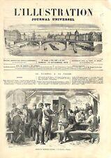 Procès du Maréchal Bazaine Buvette du Grand Trianon à Versailles GRAVURE 1873