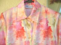 VTG 80S MOTHERS DAY M P THE TOG SHOP PINK CORAL FLORAL PASTEL BLOUSE SHIRT WOMEN
