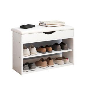 Shoe Bench Shoes Storage Rack Wooden Cabinet Padded Seat Cushion Stool Hallway