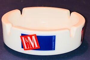 Vintage L&M Cigarettes Tobacco Advertising Ashtray White Milk Glass France Rare