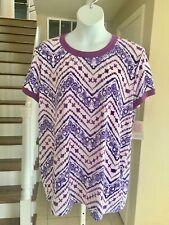 NWT Lularoe LIV Top Pretty Batik-Look Purple & Violet Print 3XL