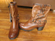 NEW FRYE Vera Stud Moto Short Boots WOMENS 8M Brown Leather $368.