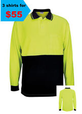 3 X HI VIS SHORT SLEEVE SAFETY YELLOW/NAVY AS/NZS 4602:2011 UPF: 50+ DAY USE 1