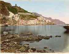 Italia, Amalfi preso dal Mare Vintage albumen print,  Tirage albuminé aqua