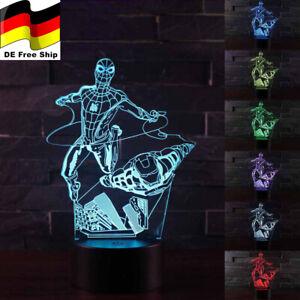 Spiderman and Iron Man Hero 3D Acryl Lampe LED Nachtlicht 7/16 Farben Tischlampe