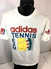 Vtg 80's Adidas ATP White SPELLOUT Tennis Team Trefoil Made in USA T Shirt L 42