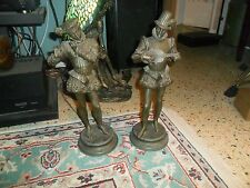 "Antique SPELTER METAL 19"" MINSTREL STATUE Pair W/ Damage"