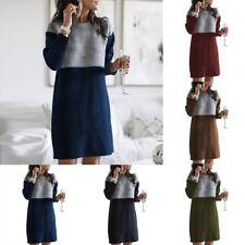 Женская зимняя цвет лоскутное платье-свитер повседневный теплый трикотажный джемпер пуловеры