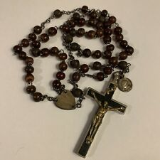 Large Vintage Horn Rosary Beads Holy Pope Paul XI Medal Big Crucifix Religious