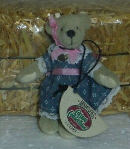 "Claria Ganz Cottage Collectibles miniature 2.75"" Teddy Bear blue dress 7220"