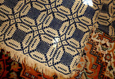 1800's  PRIMITIVE American farmhouse HOMESPUN with fringecoverlets