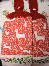 2 CHRISTMAS HOLIDAY crochet top kitchen~bath hand towels~XMAS~SNOWFLAKE BUTTONS