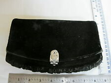 Vintage Black Velvet Clutch Purse with Rhinestone Clasp GARAY