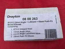 Drayton RT212 Thermostatic Radiator Valve TRV 15mm Angled c/w Lockshield 0808263