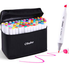 80 Marker Pen Graphic Art Sketch Drawing Alcohol Twin Tip Broad Fine Point Xmas