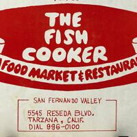Vintage The Fish Cooker Seafood Market Restaurant Menu Tarzana San Fernando CA