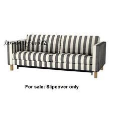 IKEA COVER for KARLSTAD Sofabed Sleeper slipcover Rannebo Black White Stripe NEW