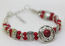 NEW Fashion Jewelry beautiful Tibet silver red turquoise Bracelet