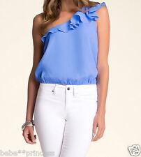 NWT bebe blue ruffle one shoulder detail sleeveless summer dress top M medium
