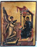Antique icon of the Annunciation mid 20th century hand painted