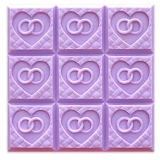 Wedding Weave Heart Rings Milky Way Soap Mold 3.5 oz Bars Melt/Pour Cold Process