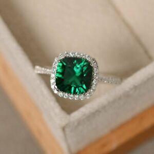 2Ct Cushion Cut Green Emerald Halo Engagement Wedding Ring 14K White Gold Finish
