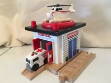 Thomas Train Rescue Hospital & Sodor Ambulance Harold Helicopter Wooden Track