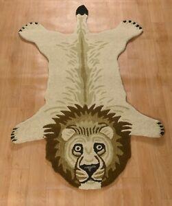 Lion Skin Wool Carpet Mat Best Gift for Kids, Animal Design Decor Rug 2x3 Feet