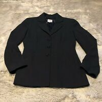 Armani Collezioni Blazer Womens Size 6 Navy Blue Pin Stripe Silk Wool Blend EUC