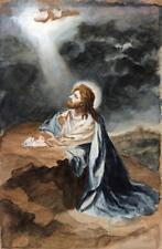 JESUS CHRIST PRAYING Antique Watercolour Painting E. ASTBURY 1928