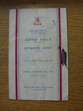 13/11/1961 Aston Villa v Dynamo Kiev [Friendly] (Folded, Creased, Writing, Marke
