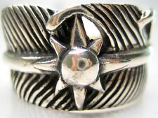 11/ V1/2  SACRED EAGLE FEATHER SUN 925 STERLING SILVER RING HEAVY 16g