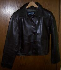 SAGUARO WEST Brown GENUINE LEATHER Jacket Women's MEDIUM Lined Coat Buttons