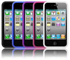 Pack of 5 - Rubber Silicone Soft Gel Case & Screen Protector For iPhone 4 4S