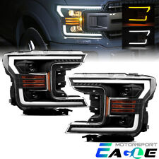 LED Turn Signal Black Projector Headlights Head Lamps For 2018 2019 Ford F-150