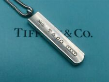 "Authentic Tiffany & Co. Necklace Pendant Bar 1837 Sterling Silver 19"" J31"