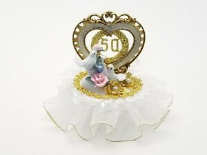 "50th Anniversary Cake Top with Love Doves Decorated in Gold and White 7"" Tall"