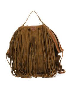 IL BISONTE Made In Italy Fringe Suede Convertible Hobo Shoulder Bag Backpack NWT