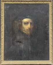 ANTIQUE OIL PAINTING FOR RESTORATION - MANNER OF REMBRANDT - PORTRAIT OF MAN