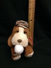 "RUSS CADDIE GOLF BALL PUPPY DOG CAP BROWN 7"" WHITE CUTE PLUSH STUFFED ANIMAL TOY"